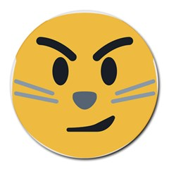 Cat Emoji Round Mousepads by goodart