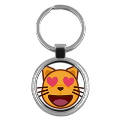 Smiling Cat Face With Heart Shape Key Chains (round)  by goodart