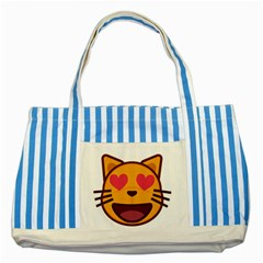 Smiling Cat Face With Heart Shape Striped Blue Tote Bag by goodart
