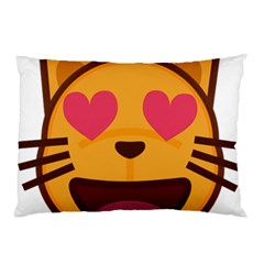 Smiling Cat Face With Heart Shape Pillow Case by goodart