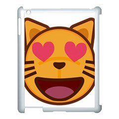 Smiling Cat Face With Heart Shape Apple Ipad 3/4 Case (white)