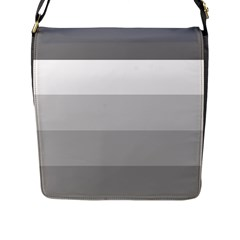 Elegant Shades Of Gray Stripes Pattern Striped Flap Messenger Bag (l)  by yoursparklingshop