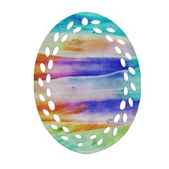 Background Color Splash Oval Filigree Ornament (two Sides) by goodart