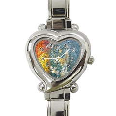 Colorful Abstract Texture  Heart Italian Charm Watch by dflcprints