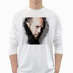 A Tribute To Jason Statham White Long Sleeve T Shirts by Naumovski