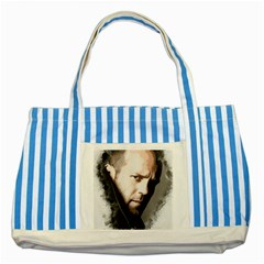 A Tribute To Jason Statham Striped Blue Tote Bag by Naumovski
