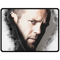 A Tribute To Jason Statham Double Sided Fleece Blanket (large)  by Naumovski
