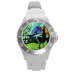 House Will Be Built Round Plastic Sport Watch (l) by bestdesignintheworld
