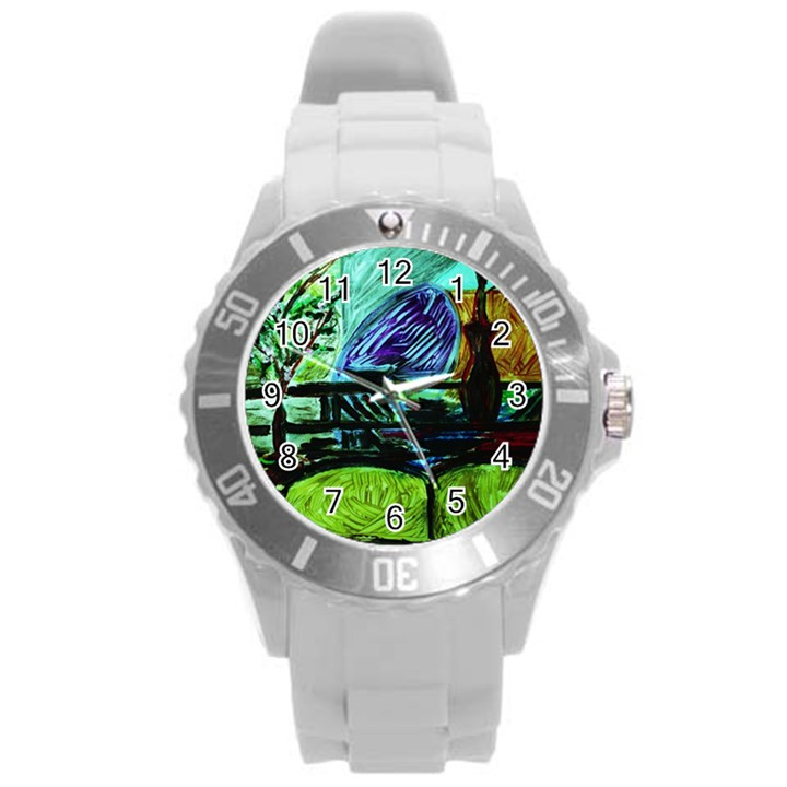 House Will Be Built Round Plastic Sport Watch (L)