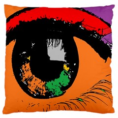 Eyes Makeup Human Drawing Color Large Flano Cushion Case (one Side)