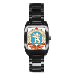 Coat Of Arms Of People s Republic Of Bulgaria, 1971 1990 Stainless Steel Barrel Watch by abbeyz71