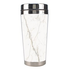 White Marble Tiles Rock Stone Statues Stainless Steel Travel Tumblers by Simbadda