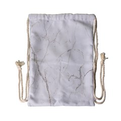 White Marble Tiles Rock Stone Statues Drawstring Bag (small)