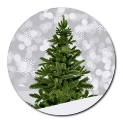Christmas Xmas Tree Bokeh Round Mousepads by Simbadda