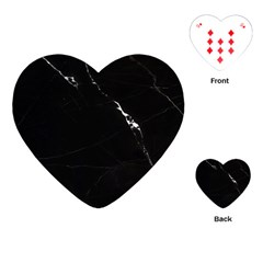 Black Marble Tiles Rock Stone Statues Playing Cards (heart)