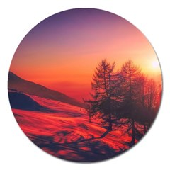 Italy Sunrise Sky Clouds Beautiful Magnet 5  (round) by Simbadda