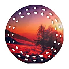 Italy Sunrise Sky Clouds Beautiful Round Filigree Ornament (two Sides) by Simbadda