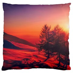 Italy Sunrise Sky Clouds Beautiful Large Cushion Case (two Sides) by Simbadda