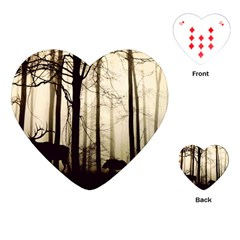 Forest Fog Hirsch Wild Boars Playing Cards (heart)  by Simbadda