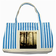 Forest Fog Hirsch Wild Boars Striped Blue Tote Bag by Simbadda