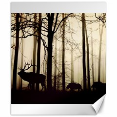 Forest Fog Hirsch Wild Boars Canvas 8  X 10