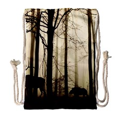Forest Fog Hirsch Wild Boars Drawstring Bag (large)