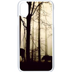Forest Fog Hirsch Wild Boars Apple Iphone X Seamless Case (white) by Simbadda