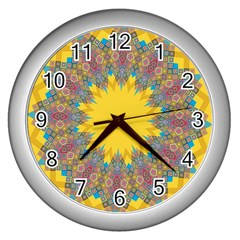 Star Quilt Pattern Squares Wall Clocks (silver)