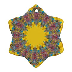 Star Quilt Pattern Squares Snowflake Ornament (two Sides)
