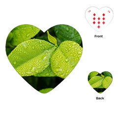Leaf Green Foliage Green Leaves Playing Cards (heart)  by Simbadda