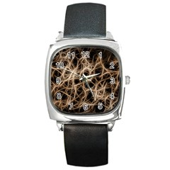 Structure Background Pattern Square Metal Watch