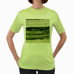Marble Tiles Rock Stone Statues Pattern Texture Women s Green T Shirt