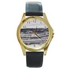 Marble Tiles Rock Stone Statues Pattern Texture Round Gold Metal Watch