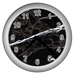 Marble Tiles Rock Stone Statues Wall Clocks (silver)
