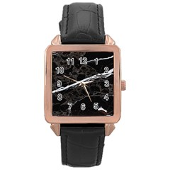 Marble Tiles Rock Stone Statues Rose Gold Leather Watch