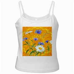 Flowers Daisy Floral Yellow Blue White Spaghetti Tank by Simbadda