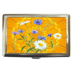 Flowers Daisy Floral Yellow Blue Cigarette Money Cases