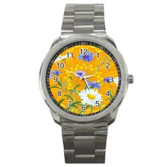Flowers Daisy Floral Yellow Blue Sport Metal Watch