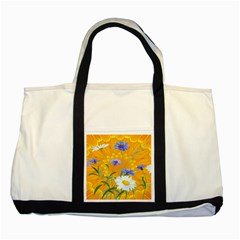 Flowers Daisy Floral Yellow Blue Two Tone Tote Bag by Simbadda