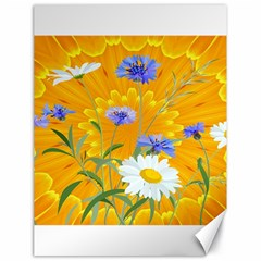 Flowers Daisy Floral Yellow Blue Canvas 18  X 24   by Simbadda