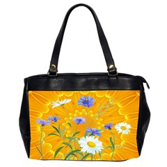 Flowers Daisy Floral Yellow Blue Office Handbags (2 Sides)  by Simbadda