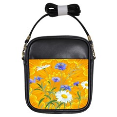 Flowers Daisy Floral Yellow Blue Girls Sling Bags