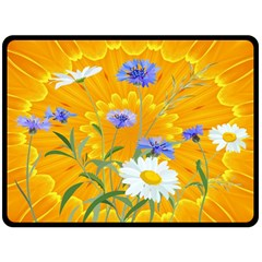 Flowers Daisy Floral Yellow Blue Fleece Blanket (large)