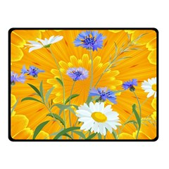 Flowers Daisy Floral Yellow Blue Fleece Blanket (small)