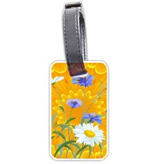 Flowers Daisy Floral Yellow Blue Luggage Tags (two Sides) by Simbadda
