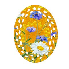 Flowers Daisy Floral Yellow Blue Oval Filigree Ornament (two Sides) by Simbadda