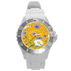 Flowers Daisy Floral Yellow Blue Round Plastic Sport Watch (l)