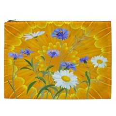 Flowers Daisy Floral Yellow Blue Cosmetic Bag (xxl)