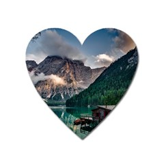 Italy Mountains Pragser Wildsee Heart Magnet by Simbadda