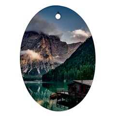 Italy Mountains Pragser Wildsee Oval Ornament (two Sides)
